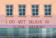 Casa del concepto del calentamiento del planeta debajo de la inundación de la ventana del agua Imagen de archivo libre de regalías
