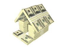 Casa del dinero del paquete de las cuentas de dólar aislada Imagen de archivo libre de regalías