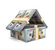 Casa del dinero del paquete de las cuentas de dólar de EE. UU. Imagen de archivo libre de regalías
