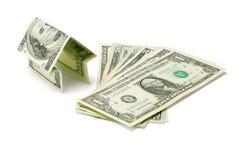 Casa del dinero y dólar americano imagen de archivo
