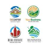 Casa del edificio y logotipo de las propiedades inmobiliarias Imagenes de archivo