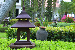 Casa del giardino, stile tailandese, centrale della Tailandia Immagine Stock