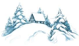 Casa del invierno stock de ilustración