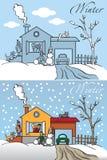 Casa del invierno de la familia stock de ilustración