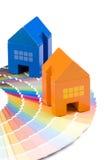 Casa del juguete sobre una gama de colores Fotografía de archivo libre de regalías