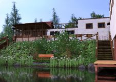 casa del lago rendering 3D Fotografía de archivo libre de regalías