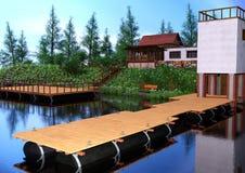 casa del lago rendering 3D Imagen de archivo libre de regalías