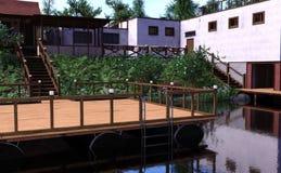 casa del lago rendering 3D Foto de archivo