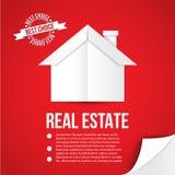 Casa del Libro Bianco su fondo rosso Concetto per l'insegna di web o di identità corporativa Stile minimalista royalty illustrazione gratis
