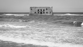 Casa Del Mar, gammalt brittiskt fort i västra Afrika, Tarfaya, Marocko royaltyfria foton