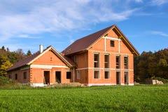 Casa del mattone in costruzione Fotografia Stock