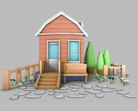 casa del modelo de la arquitectura 3D Foto de archivo libre de regalías