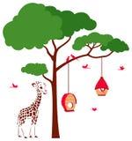 Casa del pájaro con los pájaros y la jirafa stock de ilustración