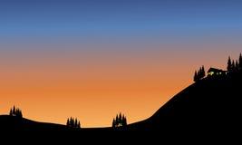 Casa del paisaje en colina Fotografía de archivo