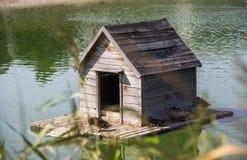 Casa del pato en la charca Imágenes de archivo libres de regalías