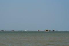 Casa del pescatore nel mare Fotografia Stock