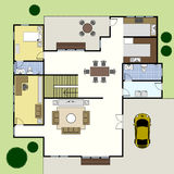 Casa del plan de la configuración de Floorplan Foto de archivo libre de regalías