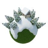 Casa del planeta 3D del invierno stock de ilustración