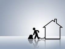 Casa del préstamo de hipoteca de la paga de las propiedades inmobiliarias Imagen de archivo libre de regalías