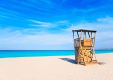 Casa del salvavidas de la playa de Formentera Llevant Imágenes de archivo libres de regalías