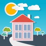 Casa del vector en Sunny Day Imagen de archivo libre de regalías