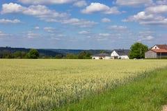 casa del villaggio rurale sull'orizzonte Fotografia Stock Libera da Diritti