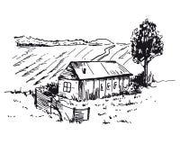 Casa del villaggio su fondo bianco schizzi di vettore fotografia stock