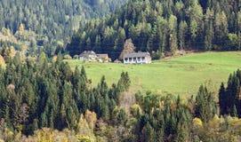 Casa dell'azienda agricola nelle alpi l'austria Fotografia Stock