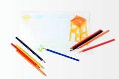 Casa dell'illustrazione del bambino Immagini Stock Libere da Diritti