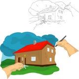 Casa dell'illustrazione della mano Fotografia Stock Libera da Diritti