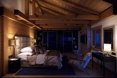 casa della camera da letto della rappresentazione 3D nella montagna Fotografie Stock Libere da Diritti