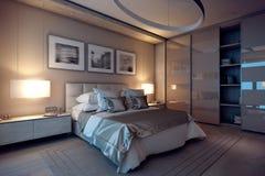 casa della camera da letto di sera della rappresentazione 3D nella foresta Fotografie Stock Libere da Diritti