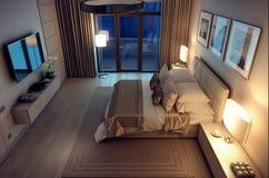 casa della camera da letto di sera della rappresentazione 3D nella foresta Immagini Stock