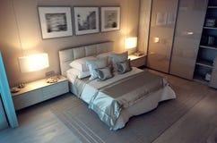 casa della camera da letto di sera della rappresentazione 3D nella foresta Fotografia Stock