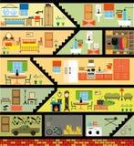 Casa della famiglia del fumetto Fotografia Stock Libera da Diritti