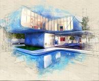Casa della galleria con lo stagno royalty illustrazione gratis