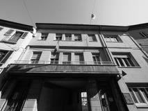 Casa della Giovane in Alba in black and white. ALBA, ITALY - CIRCA FEBRUARY 2019: Casa della Giovane (meaning Home of the young woman) in black and white royalty free stock photo