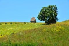Casa della montagna con il tetto ricoperto di paglia. Fotografia Stock