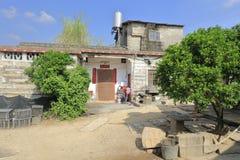 Casa della pietra del ` s dell'agricoltore nel villaggio di zhaojiabao, adobe rgb Immagine Stock Libera da Diritti