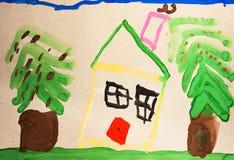 Casa della pittura dell'acquerello, albero, fiori Fotografia Stock Libera da Diritti