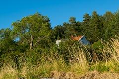 Casa della spiaggia in Norvegia Fotografia Stock