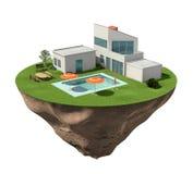 Casa della villa con le costruzioni e la piscina Fotografia Stock Libera da Diritti
