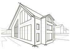 Casa destacada do esboço arquitetónico Imagem de Stock Royalty Free