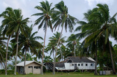 Casa destruida del ciclón Pat en el cocinero Island de la laguna de Aitutaki Fotos de archivo libres de regalías