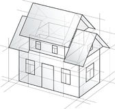Casa detallada del bosquejo del vector fotos de archivo
