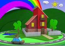 Casa di architettura del fumetto con un grande paesaggio e un arcobaleno Fotografia Stock Libera da Diritti