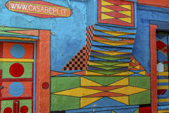 Casa di Bepi, Burano, Italy. Burano, Italy, july 2015. Close up details of a the window of a multicolored house (Casa di Bepi) with abstract shapes and designs Stock Images
