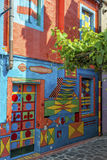 Casa di Bepi, Burano, Italy. Burano, Italy, july 2015. Multicolored house (Casa di Bepi) with abstract shapes and designs in Burano, one of the islands of Venice Royalty Free Stock Image