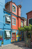 Casa di Bepi, Burano, Italy. Burano, Italy, july 2015. Multicolored house (Casa di Bepi) with abstract shapes and designs in Burano, one of the islands of Venice Stock Photos