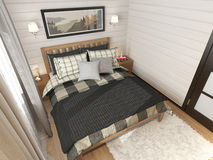 Casa di campagna interna della camera da letto Fotografia Stock